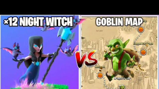 3 Star Challenge On Coc || x12 Night Witch Vs Goblin Map || Clash Of Clans ||
