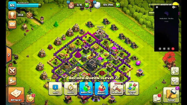 playing clash of clans at townhall 9