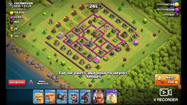 COC th7 attack. clan war tmr