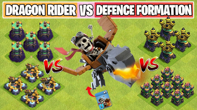 Dragon Rider Vs Every Defense Formation | New Troop | Clash of Clans Summer Update