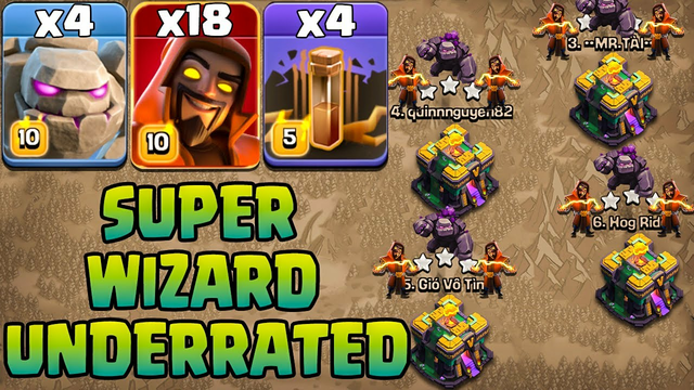Golem Super Wizard Attack With Earthquake !! 4 Golem + 18 Super Wizard + 4 Earthquake Clash Of Clans