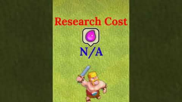 Barbarian Research Cost | Barbarian Level 1 To Max | Clash Of Clans  #COC #ENOM #Shorts