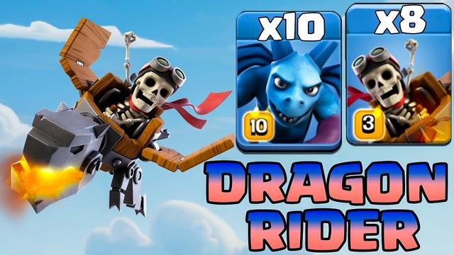Dragon Rider New Troops Clash Of Clans Update Attack !! COC New Event    8 Dragon Rider + 10 Minion