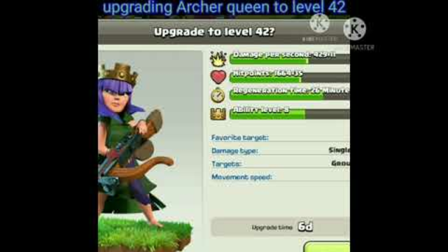 Clash of clans upgrading my Archer queen to level 42 #shorts #COC