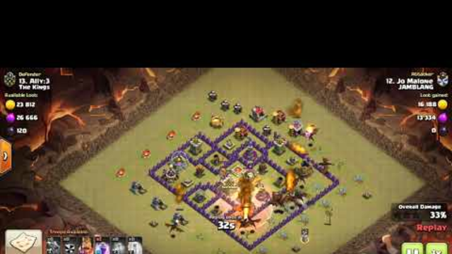 COC TH 8 WAR - Dragon Rage Spell Attack - Simple & Fast Attack, under 1 minutes