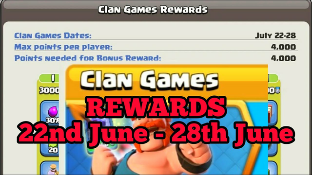 Clan Games Rewards Official 22nd June to 28th June @Clash of Clans