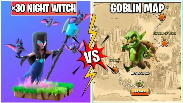 3 Star Challenge On Coc | x30Night Witch Vs Goblin Map | Clash Of Clans |