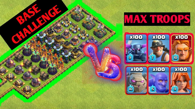 Base challenge !! troop Vs All defense || clash of clans