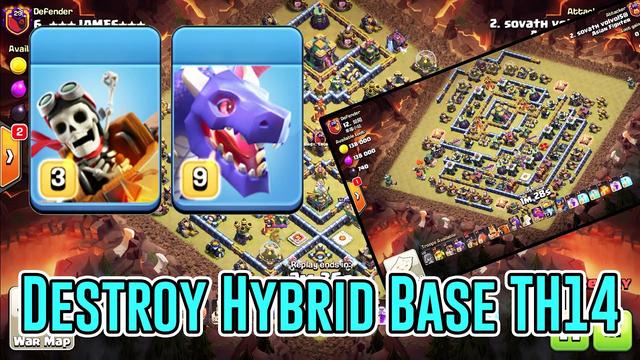 Strongest! DRAGON RIDER + DRAGON Destroy HYBRID Base TH14 3-Star ( Clash of Clans )