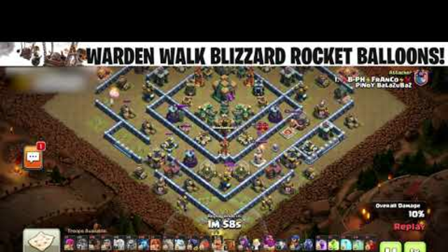 WARDEN WALK ROCKET BALLOONS! Clash of Clans