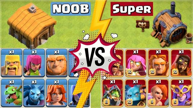 NOOB Vs PRO | TH-1 Troops vs Super Troops - Clash of Clans
