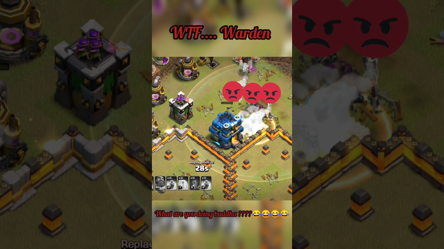 # WTF moments warden in clash of clans#clash of clan
