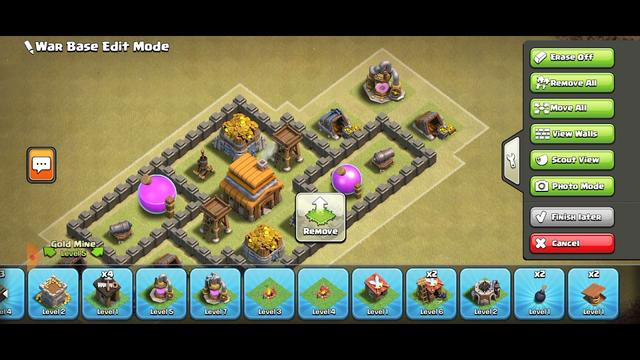 coc th4 war base/main base. hybrid