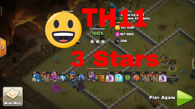 Clash of Clans TH11 3 stars Electro And Loons