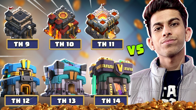 1 vs 6 Pro Players of Every Town Hall - Clash of Clans - COC