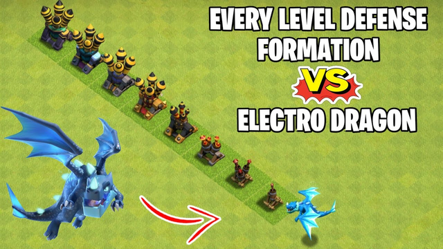 Electro Dragon Vs Every Level Defense Formation | Clash of clans