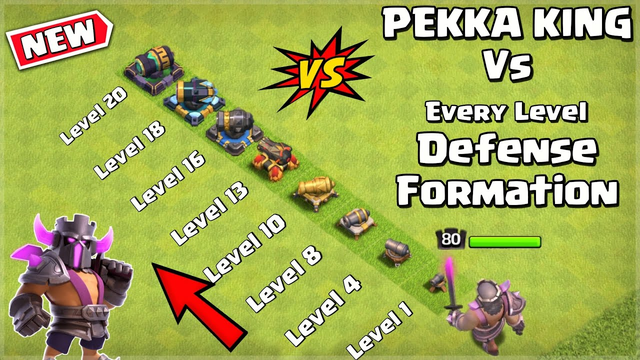PEKKA KING vs Every Level Defense Formation - Clash of Clans