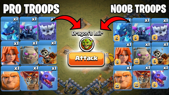 Max Troops Vs Level 1 Troops Vs Dragon Lair   Clash of clans