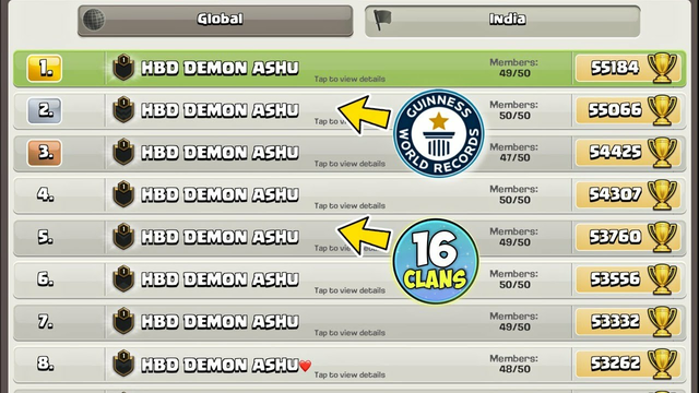 My Birthday Celebration - All Time Records ( 16 clans Top ) .....clash of clans
