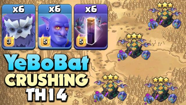 YeBoBat Easily Destroys TH14 Bases, 6 Yeti + 6 Bowler + 6 Bat Dominating Attacks - Clash Of Clans