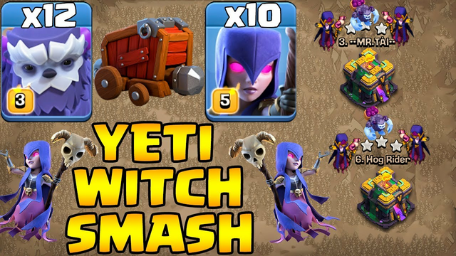 Th14 Yeti Witch Attack Strategy 2021 Clash Of Clans !! 12 Yeti + 4 Earthquake + 10 Witch Th14 Attack