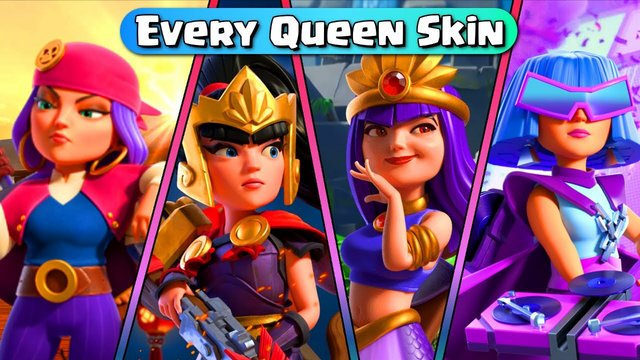 Every Archer Queen Skin & All Animations - Clash Of Clans