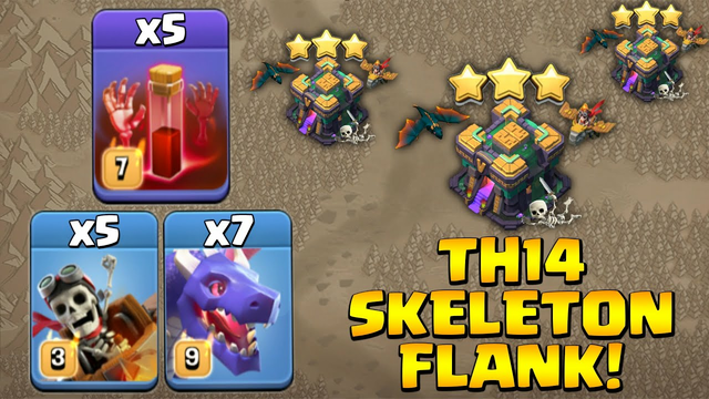 Th14  Get Great Skeleton Spell Value! 7 Dragon + 5 Skeleton Spell + 5 Dragon Rider - Clash Of Clans