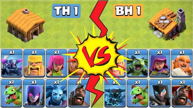 Noob Vs Noob | TH 1 Troops vs BH 1 Troops - Clash of Clans