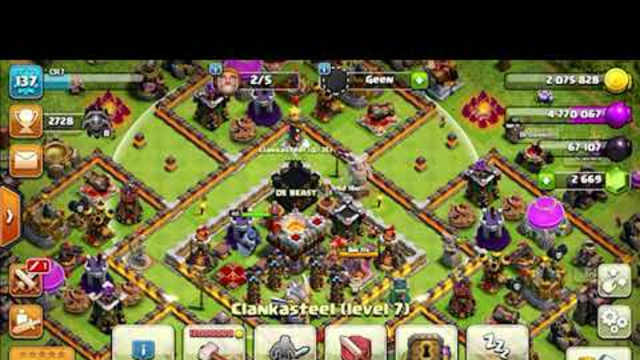 Clash of Clans - TH11 tactic e-drag lightning Earthquake