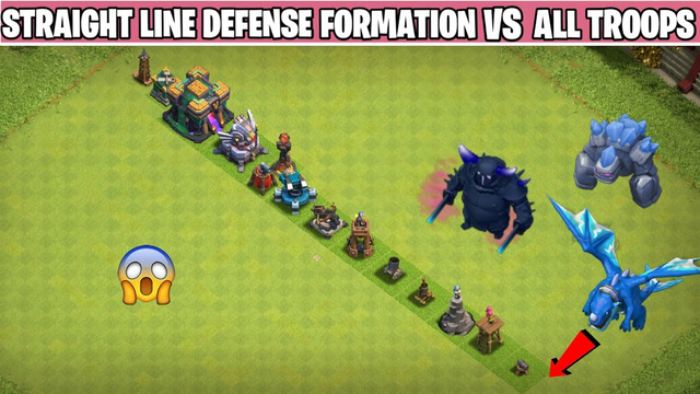 Level 1 Every Defense Straight Line Base Formation Vs All Max Troops - Clash of clans