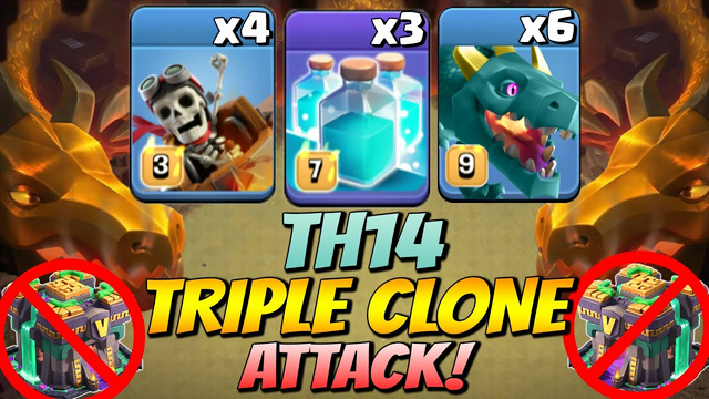 Try This 3 Cloned! Th14 Clone with Green Dragon + Riders  Attack Strategy - 2021 - Clash Of Clans