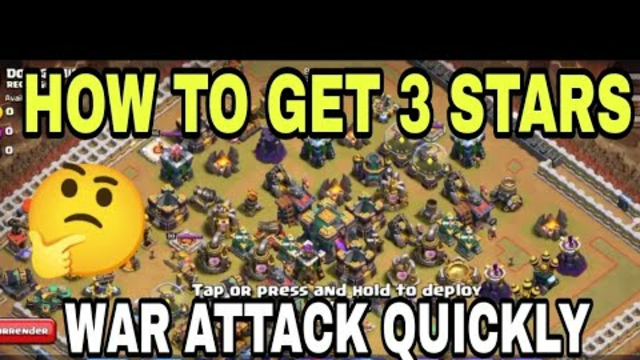 How To Get 3 Stars in War Attack Quickly / Clash Of Clans.