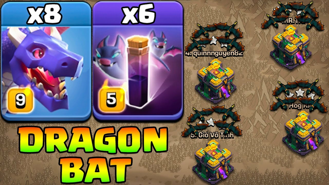 Master Of Red Dragon Attack !! 8 Dragon + 6 Bat Spell - Th14 Dragon Attack Strategy Clash Of Clans