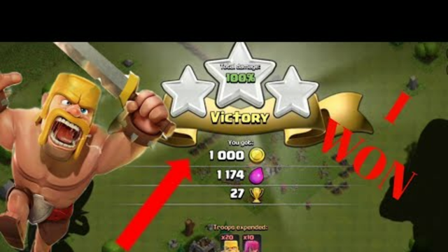 I WON MY FIRST ATTACK IN CLASH OF CLANS!!