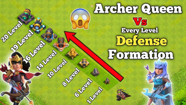 Archer Queen  Vs Every Level Defense Formation || Clash of Clans