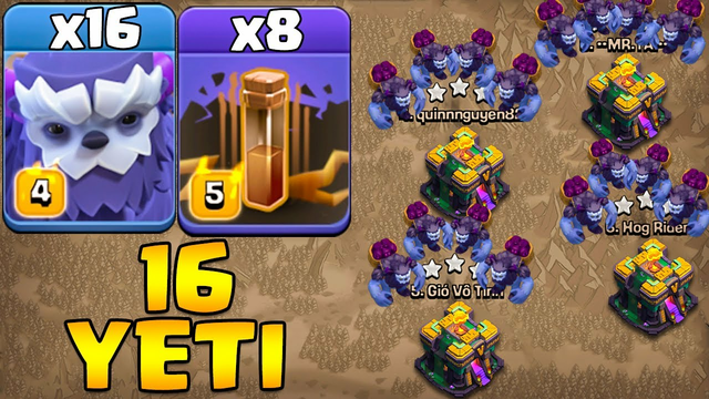 16 Yeti Attack With 8 Earthquake - 16 Yeti + 8 Earthquake - Th14 Attack Strategy 2021 Clash Of Clans