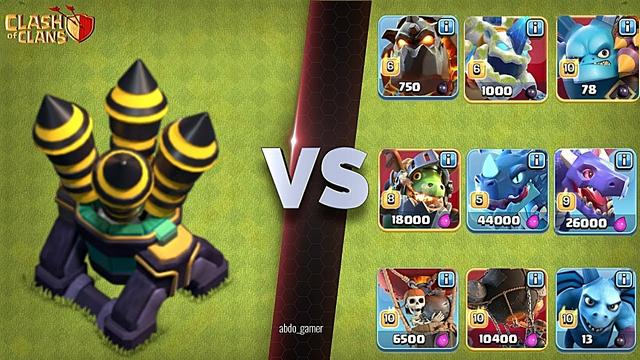 Max Air Defense vs Air Troops  (Clash of Clans)