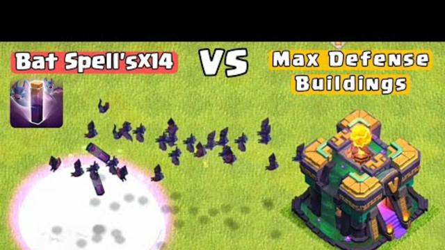 Bat Spell Vs Max Defense Buildings  Clash Of Clans  #coc#clashofclans