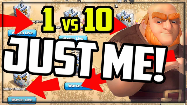 JUST ME! 1 vs 10 Clan War in Clash of Clans!