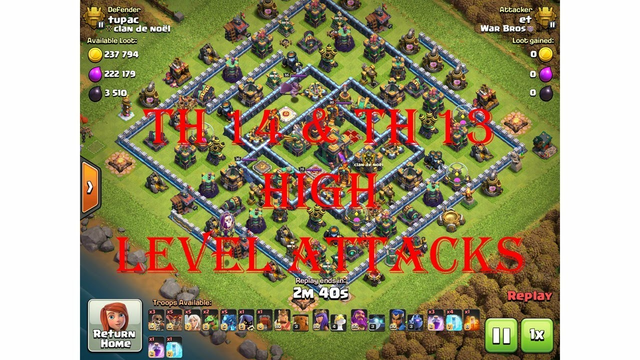 Clash of Clans TH 14 & TH 13 queen walk electro dragon attacks