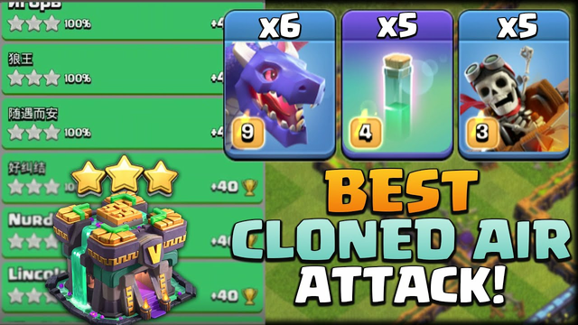 AIR HYBRID! 6 Dragon + 5 Invisible + 5 Rider Attack, Best Trophy Push Attack - Clash Of Clans