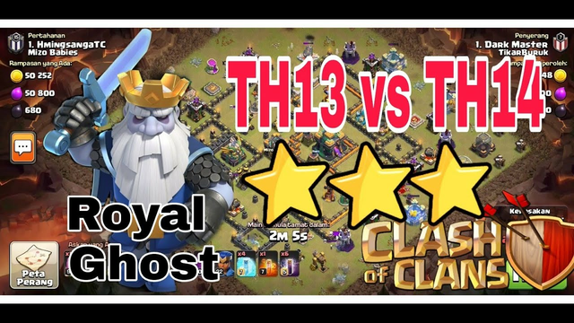 TH13 vs TH14 | Guna Hantu DiRaja Dapat 3 STAR!! | Clash Of Clans