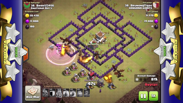3 stars in Clash of Clans | Dragons | TH8 | King 10 | # ...