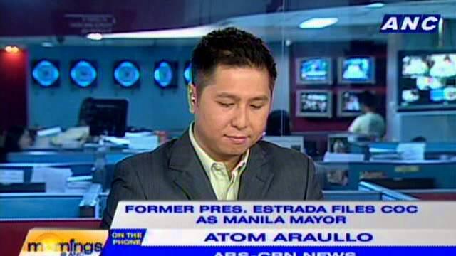 Fmr. Pres. Joseph Estrada filing his COC as Manila Mayor