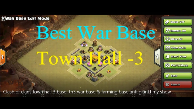Clash of clans town hall 3 base    th3 defence base & farming base   anti giant-my show