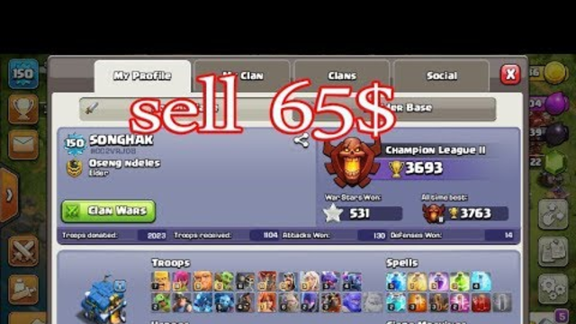 sell  clash of clans 65$ / gaming online 168- #09