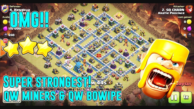 OMG!! SUPER STRONGEST ATTACK QW MINERS & QW BOWLWIPE DESTROY TH12 ( Clash of Clans )