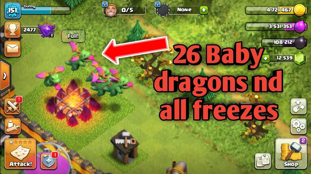 Clash Of Clans - 26 BABY DRAGONS! W/ freeze Spells!! (Air Raids On TH11)