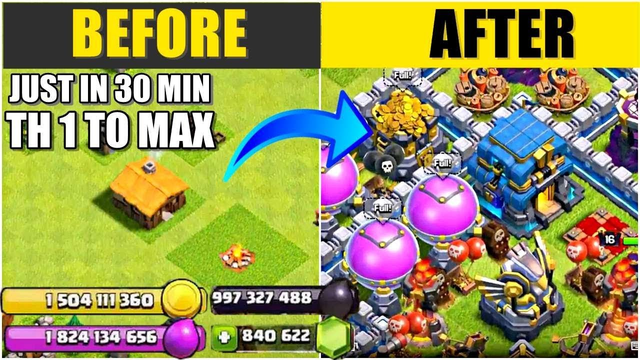 Clash of Clans Gemming From TH1 To MAX   2019