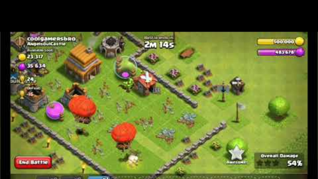 Clash of clans town hall 4 air attack strategy 3 STAR GUARANTEED